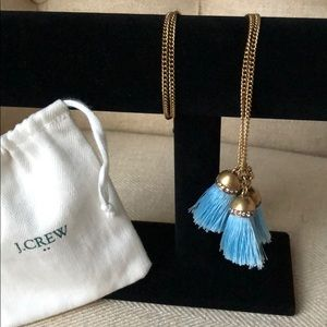 J. Crew Factory antiqued gold chain blue tassels